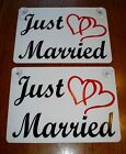 2 JUST MARRIED CAR WINDOW SIGNS 8X12 WITH SUCTION CUPS w Hearts Wedding