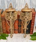 Antique Pair Baroque Gilt Cast Iron Leviton Wall Mount Light Sconces Fixtures