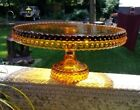 Vintage L.E. Smith Large Amber Glass Hobnail Footed Cake Stand Plate