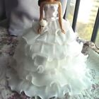 White Handmade Beauty Bar Bie Doll Wedding Party Bridal Gown Dress Clothes US