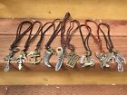 Vintage Cool Alloy Pendant Adjustable Brown Leather Cord Mens Necklace Chain USA