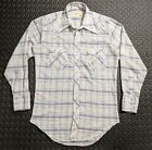 Vintage 1970s Wrangler Mens Snap Button Western Plaid Shirt sz MED Cowboy Ranch
