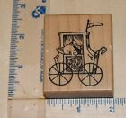 CARRIAGE w BEAR wood mounted RUBBER STAMP baby PSX e 3641 HEART shower 2269