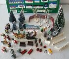 Collectible Lemax Lighted Village 50 Piece Accessory Kit Figurines Trees Sleighs