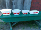 Set of 3 Vtg. Federal Glass Mixing Bowls and Dish, Red Country Kitchen , N.O.S.