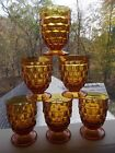 6 Juice Glasses Fostoria Colony Whitehall Amber Indiana Glass Cubist vintage