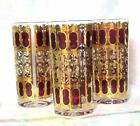 3 Vintage CULVER Cranberry Scroll 22K Gold Highball Tumblers Glasses 5 1/2