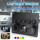 Camper Race Van LED Light Switch Control Panel Voltmeter Dual USB Charger For VW