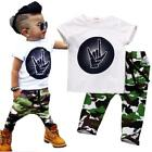 Stylish Infant Toddler Baby Kids Boys Outfits Babies Boy Rock Gesture Tops T-shi