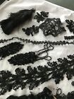Antique Black Beaded Trim Pieces (J2/17)