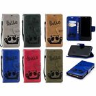 beautiful hello Panda PU Leather strap case cover for iphone 9 8 7 X Samsung S9