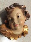 Vintage Carved Cherub Angel Head 3D Wall Ornament Hanging Polychrome Painted