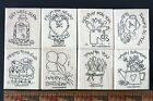 Stampin Up Nice and Easy Notes Wood Mounted Red Rubber Stamp Set Birthday