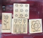 STAMPIN UP POCKET FULL OF POSIES FLOWERS RUBBER STAMPS WOOD MOUNT