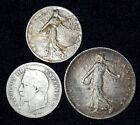 3 Silver Coins from France.  1864-1918.   No Reserve!