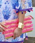 Lilly Pulitzer NWT Fiji Neon Fringe Beach Clutch Purse Pascha Pink 98