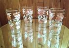 HAZEL ATLAS PINK AND WHITE FLORAL GLASSES (Qty 4)