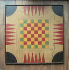 Primitive Hand Painted Backgammon Checkerboard Wooden Game Board
