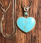 Turquoise Heart Shaped 925 Sterling Silver Pendabt Necklace