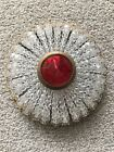Antique Glass Czech Beaded Red Jeweled  Bulb Cover French Figural Lamp Shade
