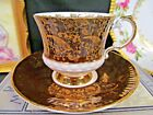 ELIZABETHAN   tea cup and saucer MAROON red godl gilt chintz teacup footed set