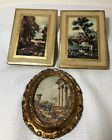 Vintage Italian Florentine Toleware Wood Wall Plaques Plus Oval Picture