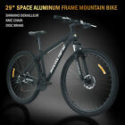 29 Aluminum Frame Mens Mountain Bike 21 Speed Shimano Bicycle Black Disc Brake