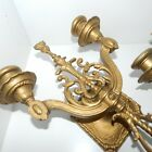 VTG ANTIQUE PAIR ORNATE BRASS GOLD WALL SCONCES CANDELABRA HOLLYWOOD REGENCY