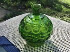 Vintage L.E. Smith Moon and Stars Green Lidded Compote Candy Dish