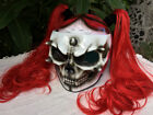 Custom Airbrush Helmet White Skull Ponytail Red Hair Girls Helmet Custom made