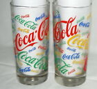 Vtg Coca Cola Glasses Tumblers Writing in Colors Blue Red Green Yellow Glassware