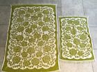 Vtg Cannon Royal Family Green Roses Bath Hand Towel Set of 2 Floral Flowers