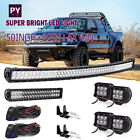 "50Inch Curved LED Light Bar + 22in + 4"" Pods Offroad SUV ATV UTV Ford Jeep 52"""