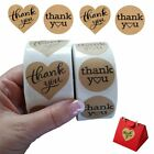 1000 Thank You Stickers Heart Love Shaped Kraft Paper  Round Adhesive Labels