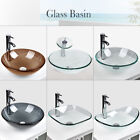 Bathroom Tempered Clear Frosted Glass Vessel Sink Bath Basin Faucet Drain Combo