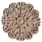 Rubber Wood Carved Round Applique Furniture Natural Unpainted For Home Deco ZH6
