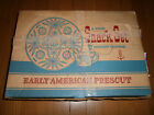 Vintage Anchor Hocking Early American Prescut 8 Piece Snack Set NEW In Box L@@K