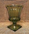 GREEN Footed CANDY DISH, Indiana Glass Compote With Scalloped Edge, VINTAGE