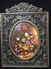 Vintage Ornate Small Brass Picture Floral Frame Made in Italy Ben Franklin  ^^