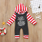Christnas Infant Baby Girl Boy Striped Long Sleeve Romper Outfits Cotton Clothes
