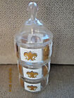 3 tier stackable candy dish with lid gold and white design 11.5