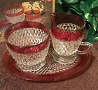 Vintage Indiana Glass Ruby Flash Diamond Point Sugar Creamer Set in Original Box