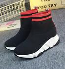 Womens Mixed Color Ankle Boots Pull On Casual Shoes Knitted Sneakers Athletic U2