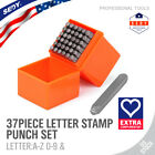 37pc Number and Letter Punch Set 1 8 Hardened Steel Metal Die Jewelers w Case