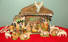 Vintage Italy Nativity Set 14 pcs w Stable Christmas Italian Made Creche Set