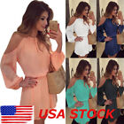 Women Chiffon Evening Party Cocktail Mini Long Sleeve Summer Beach Sun Dress USA