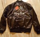 "CORVETTE ""Sting Ray"" light kacket  Black Satin embroidered Jacket Adult Large"