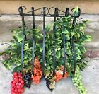 Antique Vintage Ornate Wrought Iron Wall Hanging Planter Holder Sconce W Grapes