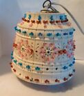 Vintage Small Lawnware Plastic Flower Pot Hanging Swag Beaded Lamp