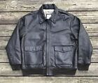 TASK FORCE GEAR Brown Leather Vintage Style A2 Flight Bomber Jacket Mens 2XL